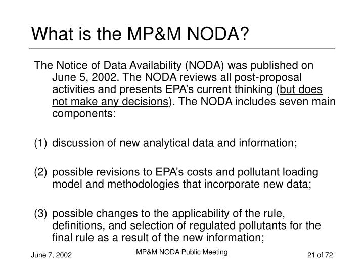 What is the MP&M NODA?