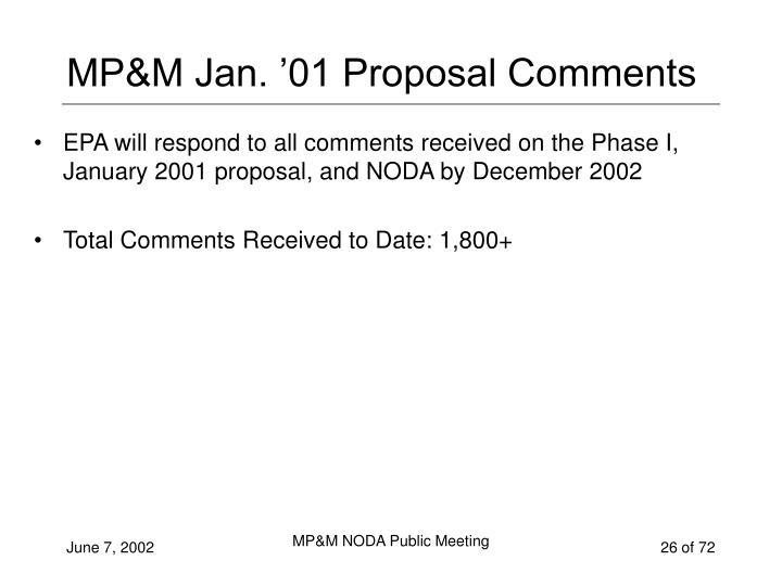 MP&M Jan. '01 Proposal Comments
