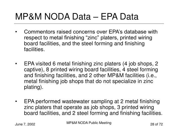 MP&M NODA Data – EPA Data