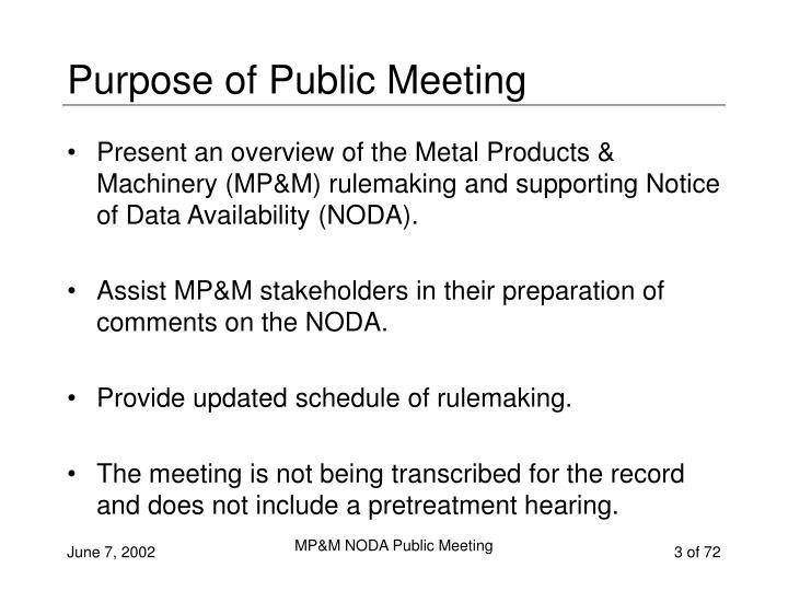 Purpose of Public Meeting