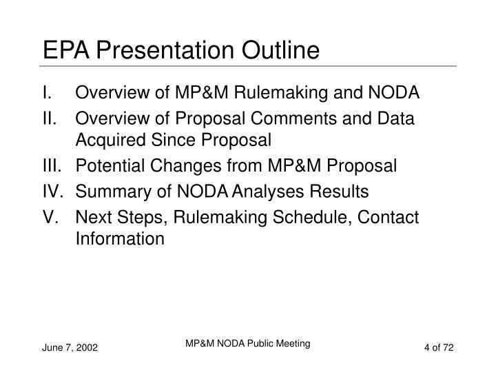 EPA Presentation Outline