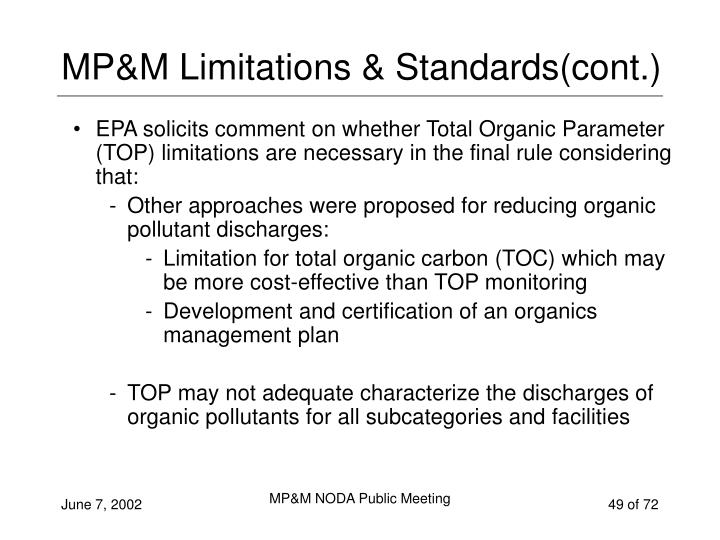 MP&M Limitations & Standards(cont.)