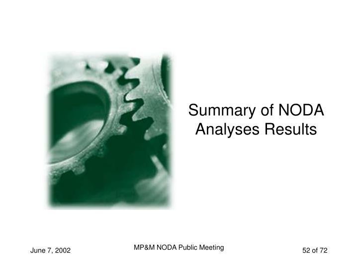 Summary of NODA