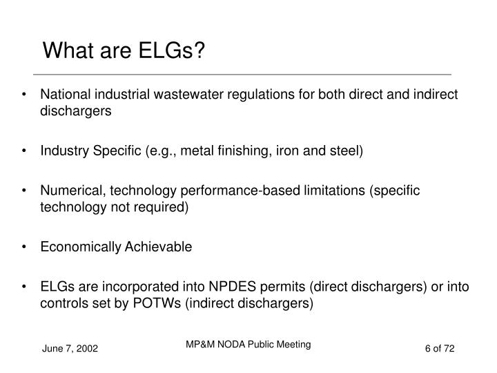 What are ELGs?