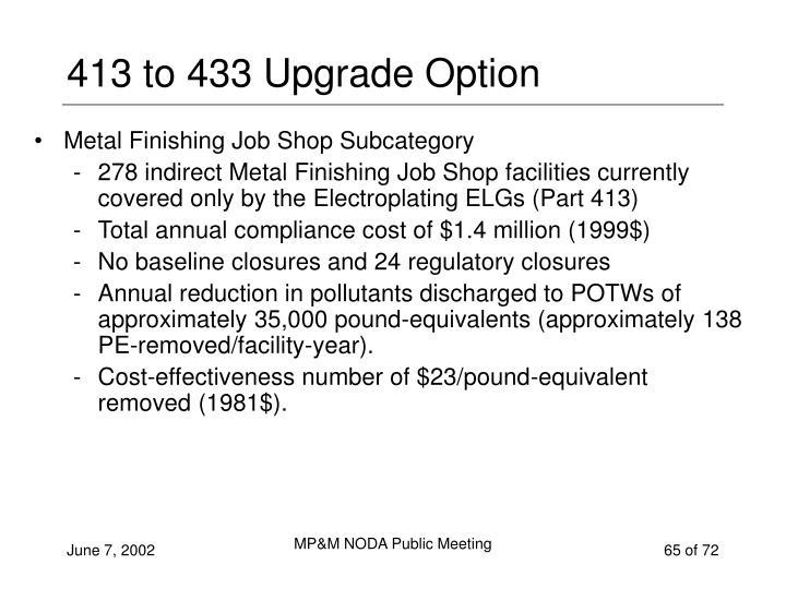 413 to 433 Upgrade Option