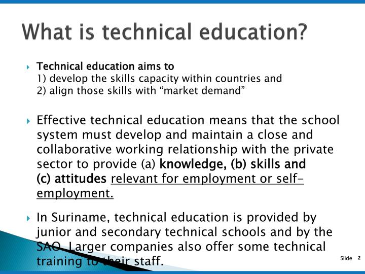 What is technical education?