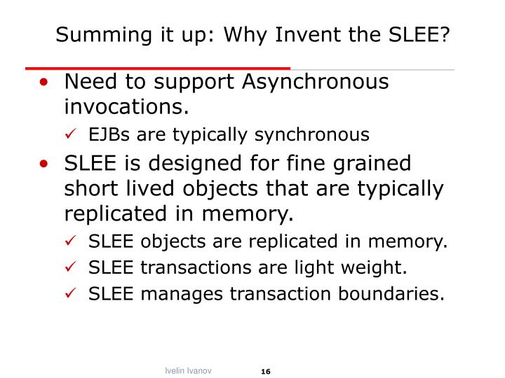 Summing it up: Why Invent the SLEE?