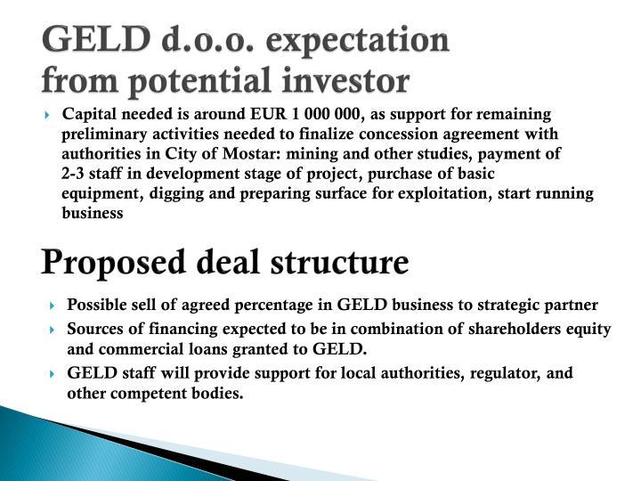 GELD d.o.o. expectation