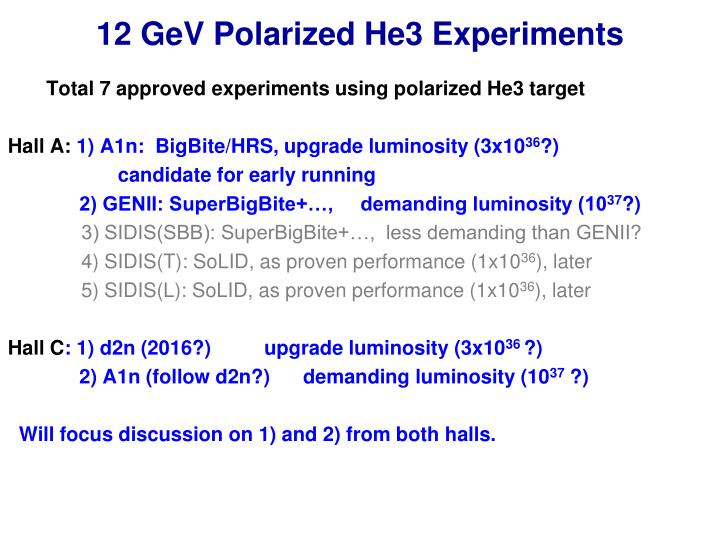 12 gev polarized he3 experiments