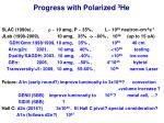 progress with polarized 3 he