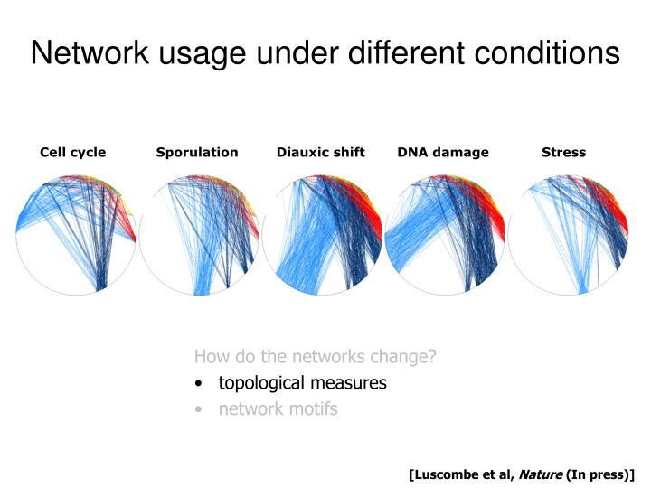 Network usage under different conditions