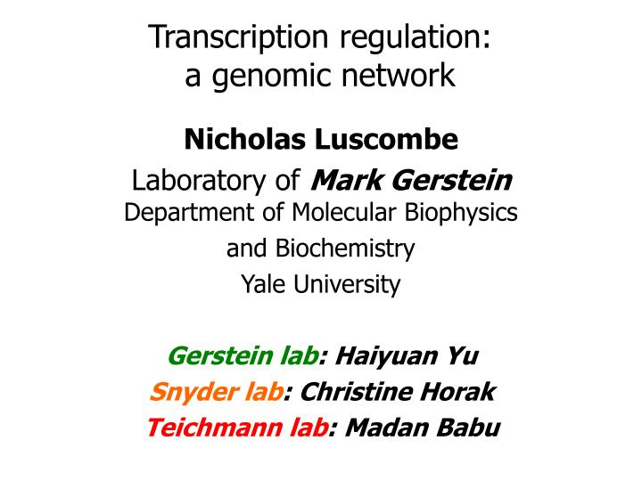 Transcription regulation a genomic network