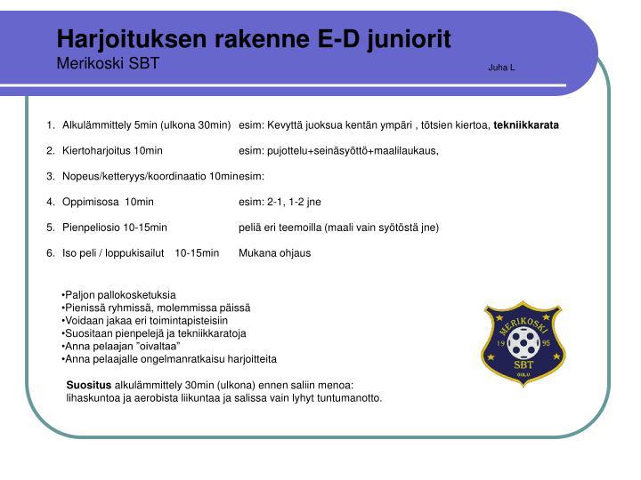 Harjoituksen rakenne E-D juniorit