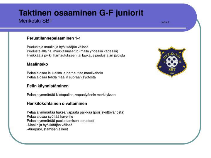 Taktinen osaaminen G-F juniorit