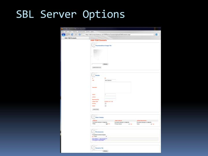 SBL Server Options