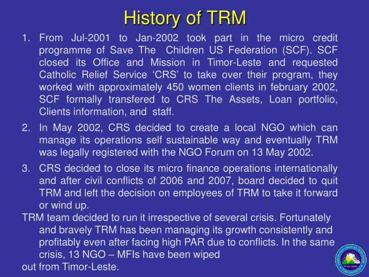 History of TRM