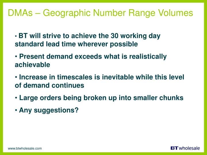 DMAs – Geographic Number Range Volumes