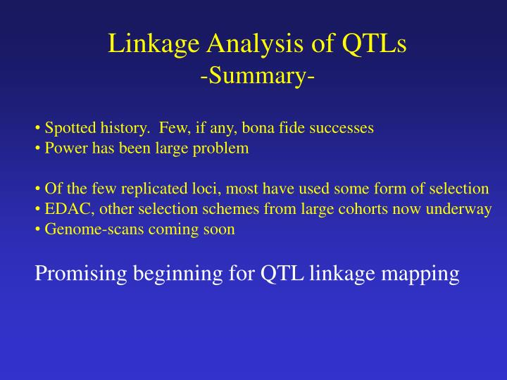 Linkage Analysis of QTLs