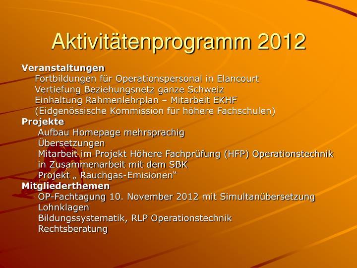 Aktivitätenprogramm 2012