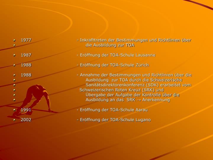 1977- Inkrafttreten der Bestimmungen und Richtlinien über