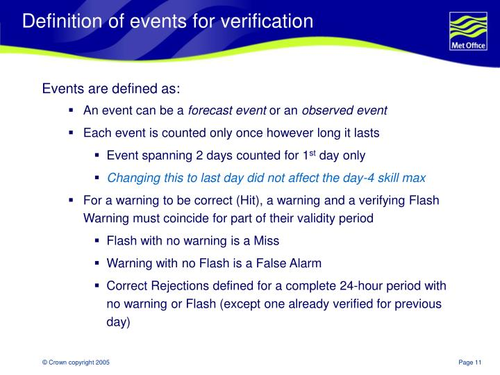 Definition of events for verification
