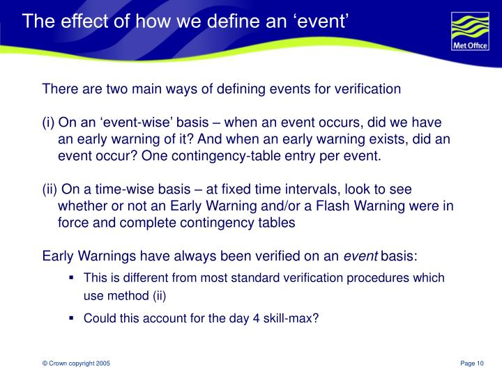 The effect of how we define an 'event'