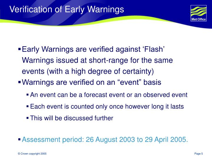 Verification of Early Warnings