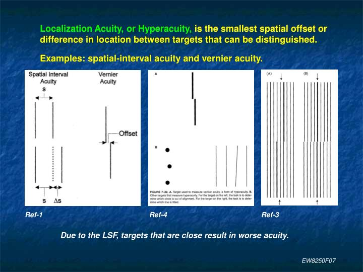 Localization Acuity, or Hyperacuity,
