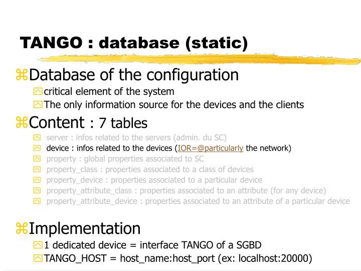 TANGO : database (static)