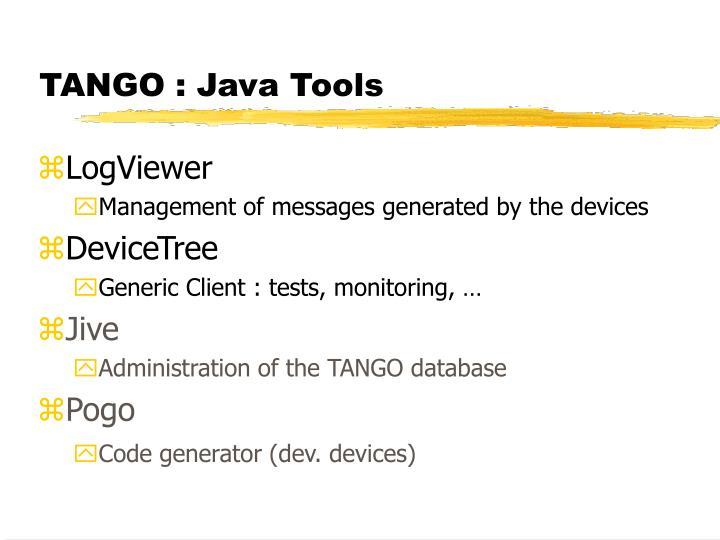 TANGO : Java Tools