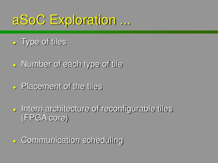 aSoC Exploration ...