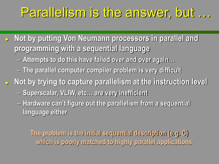 Parallelism is the answer, but …