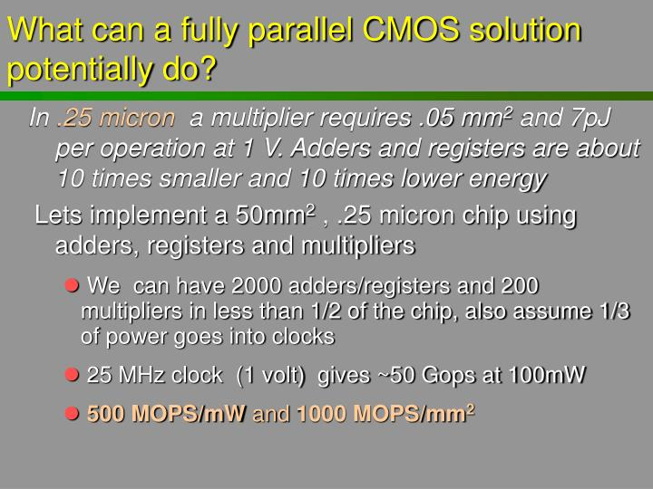 What can a fully parallel CMOS solution potentially do?