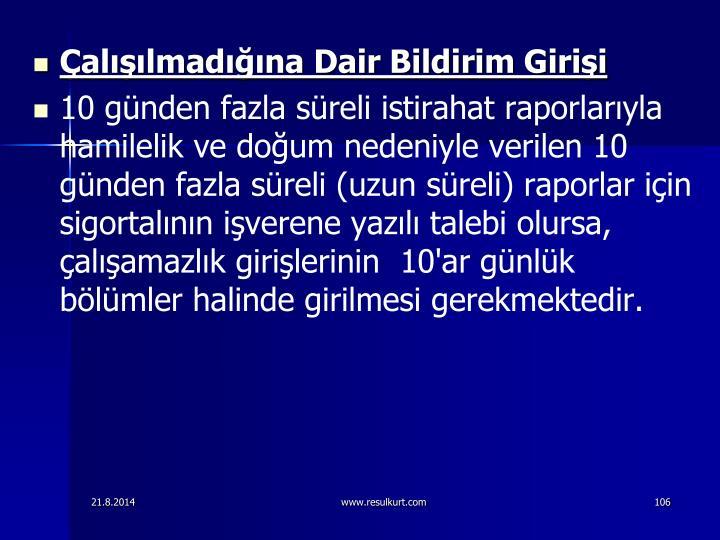 allmadna Dair Bildirim Girii