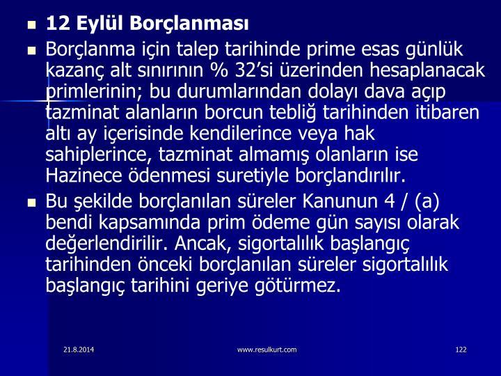 12 Eyll Borlanmas