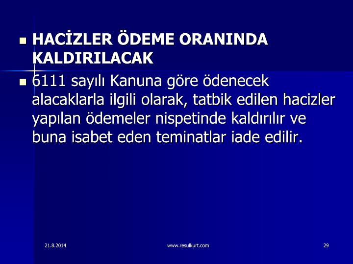 HACZLER DEME ORANINDA KALDIRILACAK