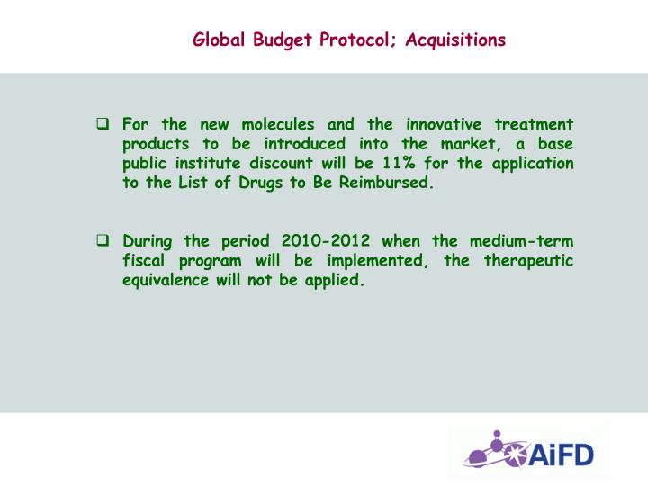 Global Budget Protocol; Acquisitions