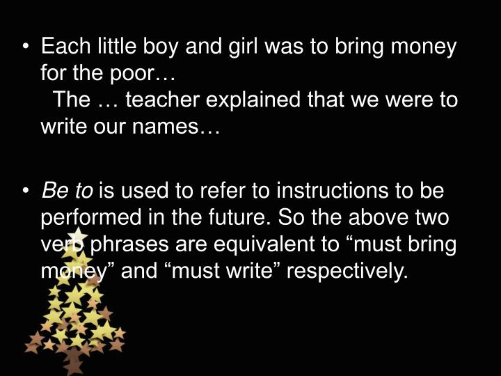 Each little boy and girl was to bring money for the poor…