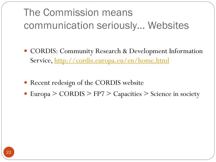 The Commission means communication seriously… Websites