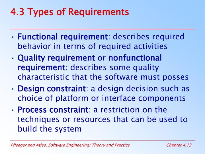 4.3 Types of Requirements
