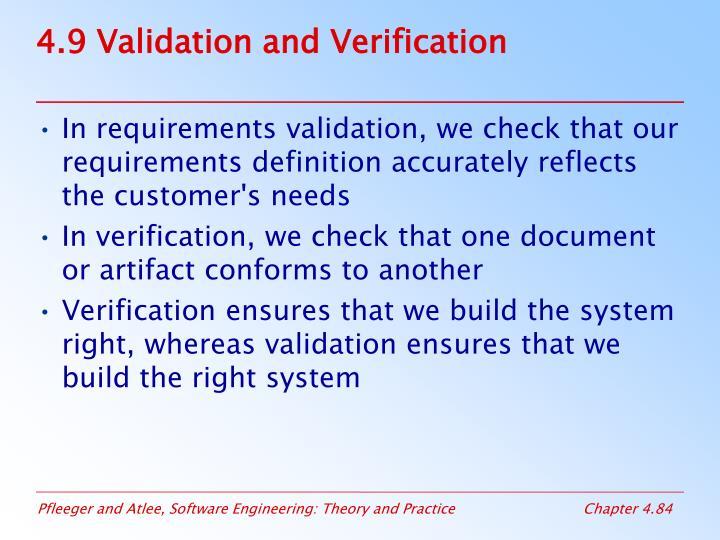 4.9 Validation and Verification