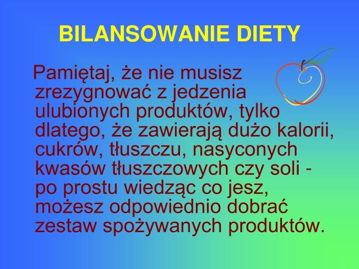 BILANSOWANIE DIETY