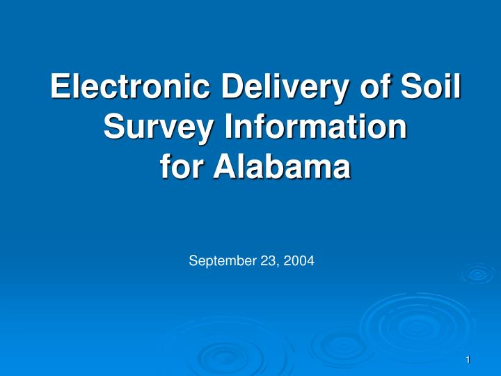 Electronic delivery of soil survey information for alabama
