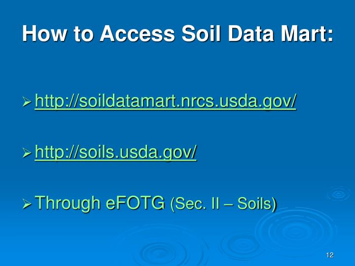 How to Access Soil Data Mart: