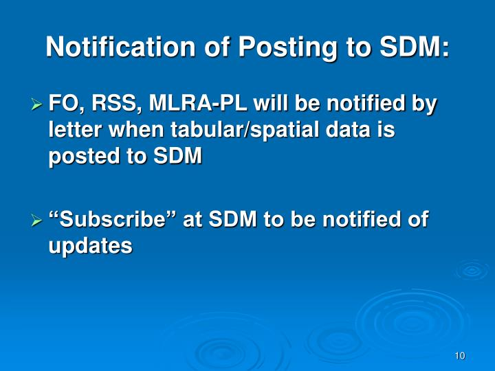 Notification of Posting to SDM: