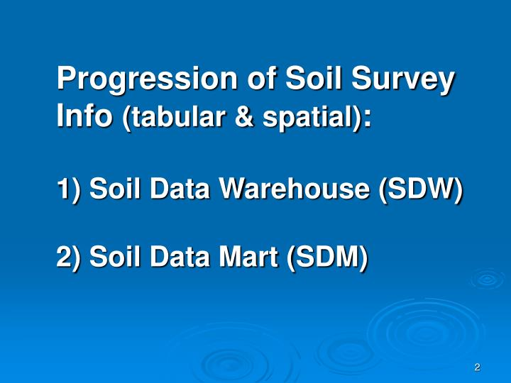 Progression of soil survey info tabular spatial 1 soil data warehouse sdw 2 soil data mart sdm