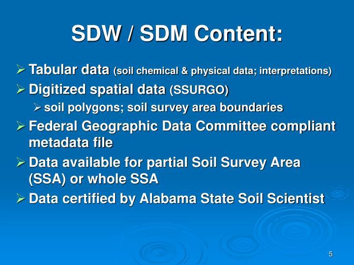 SDW / SDM Content: