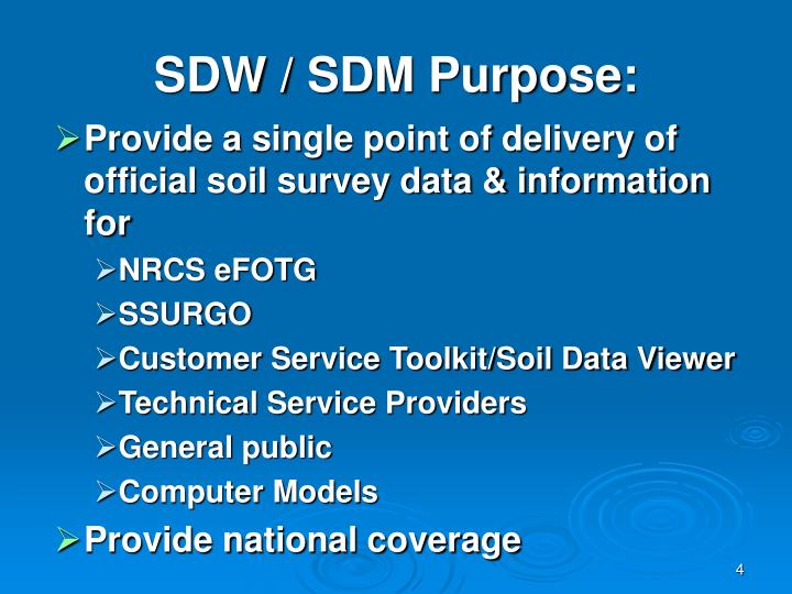 SDW / SDM Purpose: