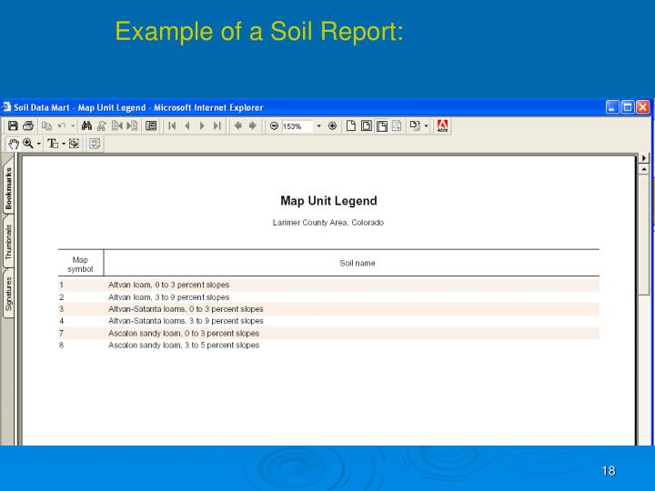 Example of a Soil Report: