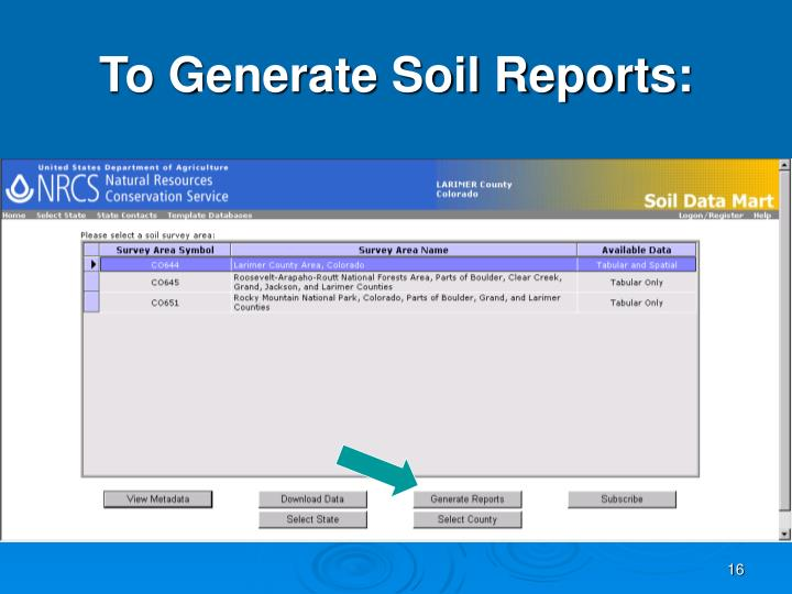 To Generate Soil Reports: